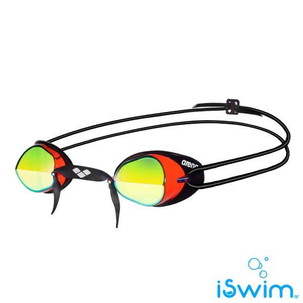 Κολυμβητικά γυαλάκια ιδανικα και για αγωνιστική χρήση, Arena Swedix Mirro Red Yellow Black