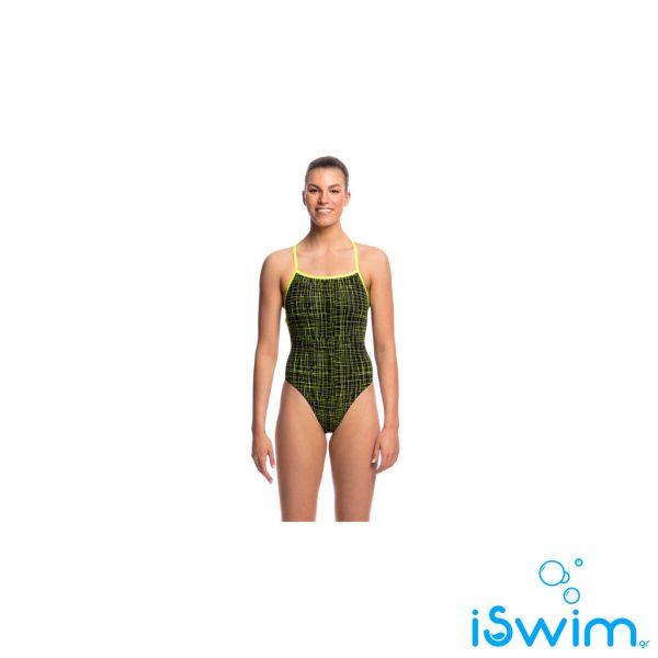 Γυναικείο μαγιό πισίνας υψηλής αντοχής στο χλώριο, FUNKITA LADIES STRAPPED IN ONE PIECE FLASH'N BURN