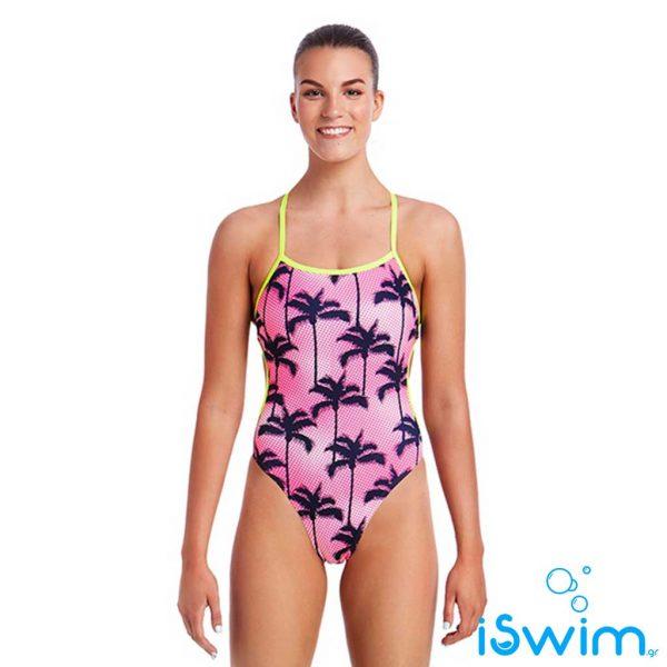 Γυναικείο μαγιό πισίνας υψηλής αντοχής στο χλώριο, Funkita Ladies Cut Away One Piece pop-palms