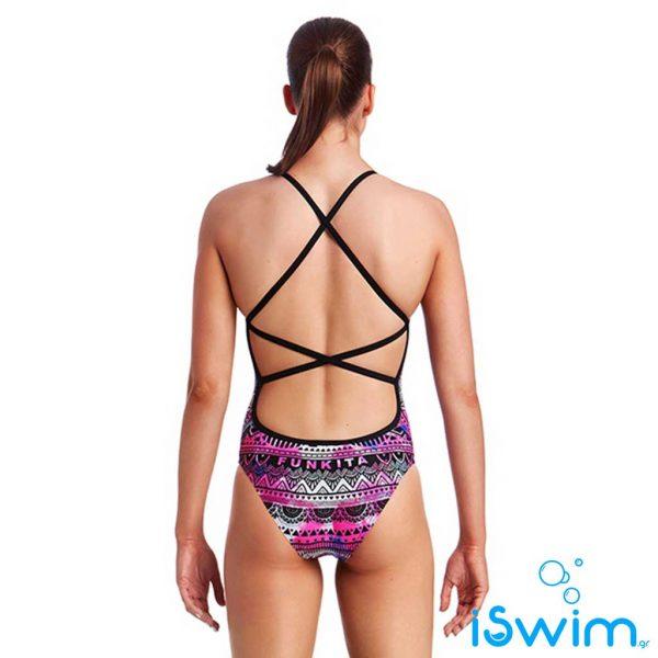Γυναικείο μαγιό πισίνας υψηλής αντοχής στο χλώριο, Funkita Ladies Strapped In One Piece skull-swim