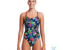 Γυναικείο μαγιό πισίνας υψηλής αντοχής στο χλώριο, Funkita woman Diamond back tropic-tag