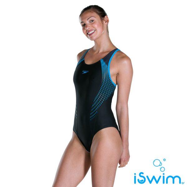 Γυναικείο μαγιό πισίνας αντοχής στο χλώριο, SPEEDO FIT LANEBACK 1 PIECE 811389C648B