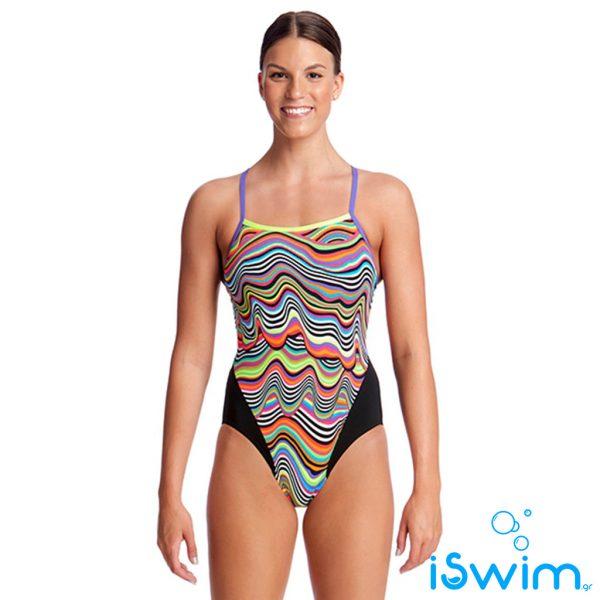 Γυναικείο μαγιό πισίνας υψηλής αντοχής στο χλώριο, FUNKITA WOMAN SINGLE STRAP DRIPPING