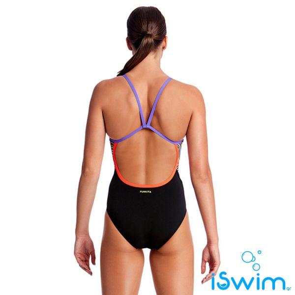 Γυναικείο μαγιό πισίνας υψηλής αντοχής στο χλώριο, FUNKITA WOMAN SINGLE STRAP DRIPPINGa