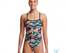 Γυναικείο μαγιό πισίνας υψηλής αντοχής στο χλώριο, FUNKITA WOMAN TIE ME TIGHT crazy-painter