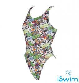 Γυναικείο μαγιό πισίνας αντοχής στο χλώριο, ARENA 001741-661-W SUMMER COMICS SWIM TECH ONE PIECE L-001-FL-S