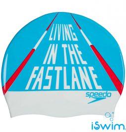 Κολυμβητικό σκουφάκι από σιλικόνη, SPEEDO SLOGAN PRINT SILICONE CAP 08385C904A