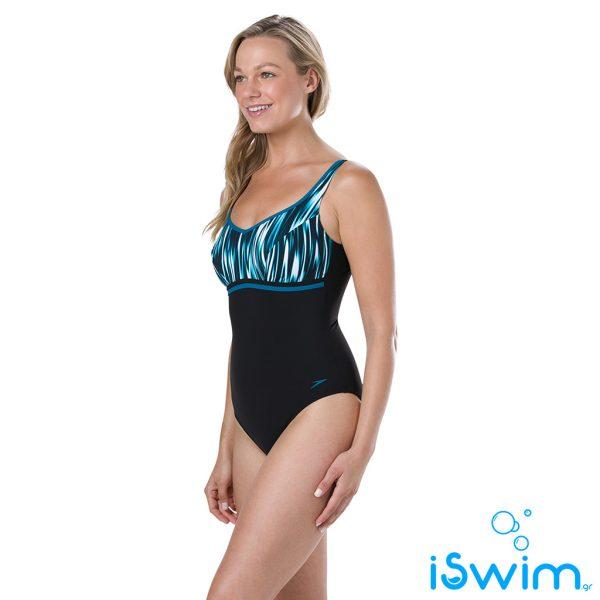 Γυναικείο μαγιό πισίνας αντοχής στο χλώριο, SPEEDO WOMAN CONTOURLUXE PRINTED 10420C880