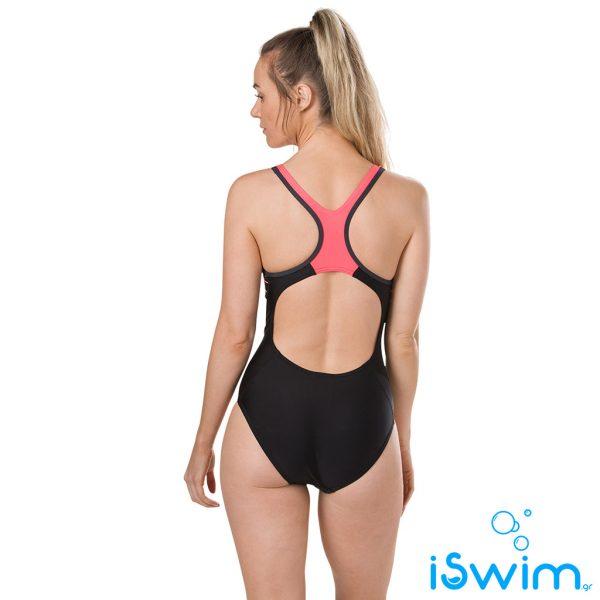 Γυναικείο μαγιό πισίνας αντοχής στο χλώριο, SPEEDO WOMAN FIT LANEBACK BLACK RED 11389C739A